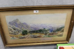 (XIX). Extensive mountainous wooded landscape with horses, cart and figures 'Montenegro Lake of