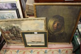 A VINTAGE FRAMED PEARSON PRINT OF A YOUNG GIRL, TOGETHER WITH A FRAMED PRINT OF A CLIPPER SHIP AND