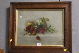 AN OAK FRAMED AND GLAZED OIL ON CANVAS SILL LIFE STUDY OF FRUIT SIGNED L. GROVES 1915