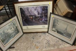 A SIGNED LIMITED EDITION FRAMED AND GLAZED RAILWAY INTEREST PRINT ENTITLED 'MID MORNING DEPARTURE'