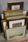 A LARGE QUANTITY OF WATERCOLOURS AND PASTEL PICTURES ETC. TO INCLUDE A PORTRAIT STUDY, LANDSCAPES