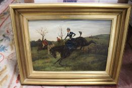 AN ANTIQUE GILT FRAMED OIL ON CANVAS DEPICTING A HUNTING SCENE
