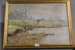 A FRAMED OIL ON CANVAS DEPICTING DUCKS IN FLIGHT OVER WATER SIGNED R. C. HAYWOOD