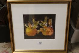LEONARD GRAY (b.1925). Still life study of two apples, signed and dated 1991 lower right,