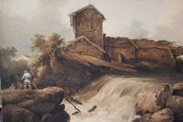 T. LINDSAY (XIX). English school, wooded rocky river landscape with figures by a waterfall,