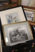 A TRAY OF PICTURES AND PRINTS TO INCLUDE DECOUPAGE PICTURES, NOVELTY GOLF INTEREST PRINTS ETC.