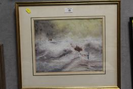 A. GREENWOOD - A FRAMED AND GLAZED IMPRESSIONIST WATERCOLOUR DEPICTING A SEASCAPE WITH ROWING BOAT