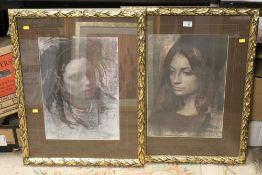 A PAIR OF GILT FRAMED AND GLAZED HEAD AND SHOULDER PORTRAIT PRINTS OF YOUNG LADIES