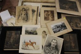A LARGE QUANTITY OF UNFRAMED ANTIQUE ENGRAVINGS AND PRINTS ETC.