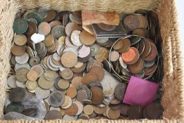 A BASKET OF BRITISH AND WORLD COINS