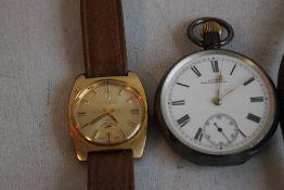 A SILVER OPEN FACED POCKET WATCH, and a Tressa laser beam gentleman's wristwatch