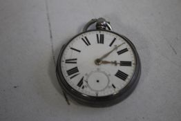 WELSH INTEREST A SILVER FUSEE OPEN FACE POCKET WATCH, the movement signed W. Williams Llanidloes,