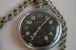 A JAEGER LE COULTRE GSTP MILITARY POCKET WATCH, black open face and military markings to the back