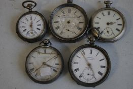 FIVE ANTIQUE SILVER OPEN FACE POCKET WATCHES