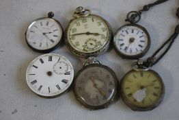 A QUANTITY OF POCKET WATCHES AND A MOVEMENT, to include silver examples