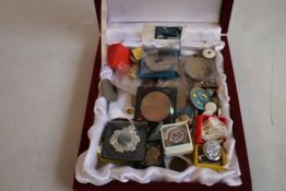 A COLLECTION OF OF COINS, BADGES ETC