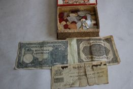 """A SHEFFIELD BANK """"'JOHN AND WILLIAM SHORE""""' 10 shillings and sixpence (half guinea) bank note A/F ("""