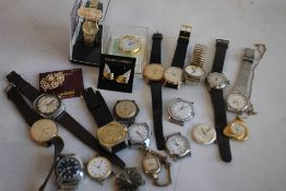 A SELECTION OF ASSORTED WRIST WATCHES & STRAPS ETC., to include two pendant watches.