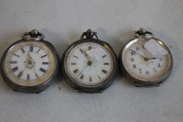 THREE 19TH CENTURY CONTINENTAL WHITE METAL FOB WATCHES WITH FANCY ENAMEL DIALS