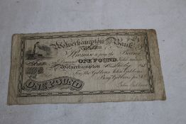 """A """"'WOLVERHAMPTON OLD BANK""""' ONE POUND NOTE DATED 4TH JULY 1815, black on white uniface, with hand"""