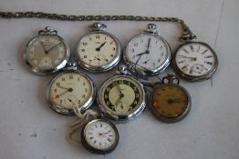 A SMALL QUANTITY OF POCKET FOB WATCHES, to include a continental white metal example (mostly A/F).