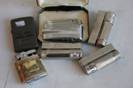 """VINTAGE CIGARETTE LIGHTERS, to include a cased """"'Ronson Varaflame,""""' a US army Zippo style etc."""