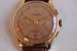 """AN 18CT GOLD CASED """"'EXACTUS""""' GENTLEMAN'S TWO BUTTON CHRONOGRAPH WRISTWATCH, salmon coloured dial"""