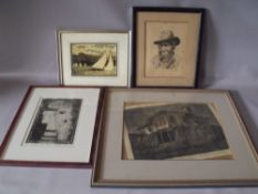 (XX). Three etchings and woodcuts etc., VISSAUV. Village building with figures, B ROBINSON. Lake