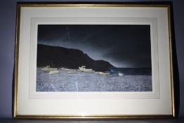 BART O'FARRELL (XX). Evening coastal scene with beached boats, 'Porthallow at Night' see verso,