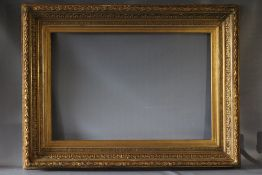 A 19TH CENTURY DECORATIVE GILT FRAME WITH ACANTHUS LEAF DESIGN TO OUTER EDGE, frame W 15 cm, frame