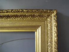 A 19TH CENTURY DECORATIVE GOLD FRAME WITH ACANTHUS LEAF DESIGN TO OUTER EDGE, frame W 12 cm, frame