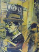 (XX). Modernist street scene with figures, indistinctly signed lower right, mixed media on paper,