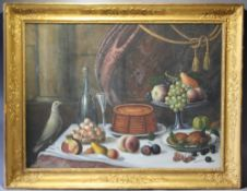 (XIX-XX). Still life study of various items on a marble table to include fruit, poultry and wine