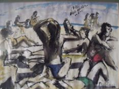 FAT BOY (XX). English school, impressionist beach scene with figures, signed lower right, mixed