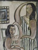 F.L. Modernist interior scene with two women, one semi-nude, signed with initials and dated 1929