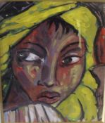 H.M. Modernist portrait study of a young black girl, signed with monogram and dated 2009 lower