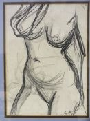 CIRCLE OF DAME LAURA KNIGHT (1877-1970). Female nude study, bears initials lower right, pencil on