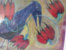 KRISTINA PAGE (XX). Modernist study of a crow and flowers, signed verso, mixed media on paper,