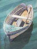 J. BAILEY (XX). Study of a moored boat, signed and dated 1997 lower right, watercolour, framed and