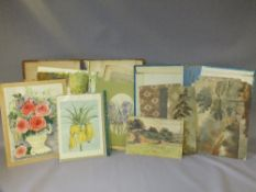 TWO FOLDERS CONTAINING VARIOUS WATERCOLOUR AND MIXED MEDIA DRAWINGS AND SKETCHES, to include