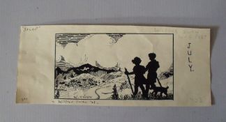 SCHOOL OF WILFRED OWEN (1893-1918). Two children and dog in a mountainous landscape 'Salop', bears