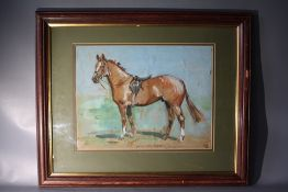 J. LAMBLYN. A horse portrait 'Kim, sketch for portrait', singed and dated 1958 lower middle to