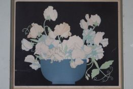 JOHN HALL THORPE (1874-1947). Still life study of flowers in a bowl, 'Sweet Peas', signed in