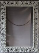 A LATE 18TH CENTURY CARVED LIMEWOOD FLORENTINE PICTURE FRAME, frame W 16 cm, frame rebate 111 x 75