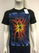 ADAM KIMMEL - a ladies black top with print to the front, size small