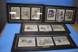 A SELECTION OF FRAMED COMICAL PRINTS