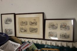 THREE FRAMED HUNTING PRINTS to include a lithograph by W. & J. O. Clerk after Edward Lacey frame
