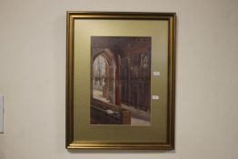 A FRAMED AND GLAZED WATERCOLOUR OF A CHURCH INTERIOR, INITIALED E. G. B. AND DATED 1914