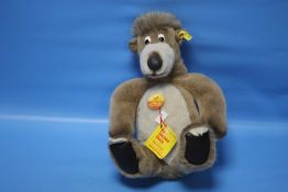 """A VINTAGE """"STEIFF BALLOO"""" BEAR, with original card tag attached, height 29 cm."""