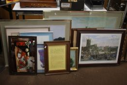 A QUANTITY OF PICTURES AND PRINTS TO INCLUDE A PRINT OF WOLVERHAMPTON MARKET
